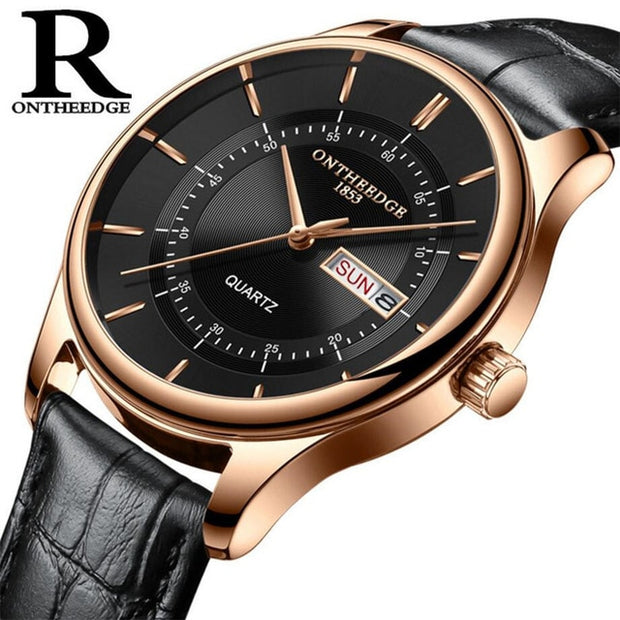 High Quality Rose Gold Dial Watch Men Leather Waterproof 30M Watches Business Fashion Japan Quartz Movement Auto Date Male Clock - The 24/7 Store