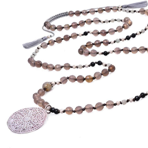 Necklace Ulas Agate Grey, Necklace, Bankelok