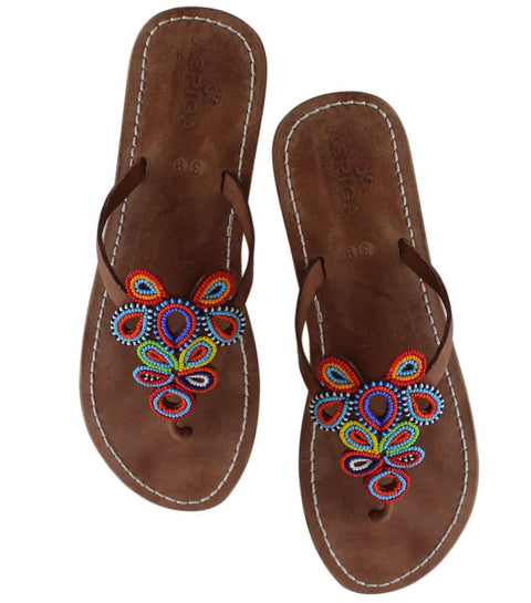 Beaded Leather Sandals, Shoes, Bankelok