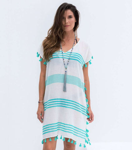 White & Turquoise Mila Kaftan Dress