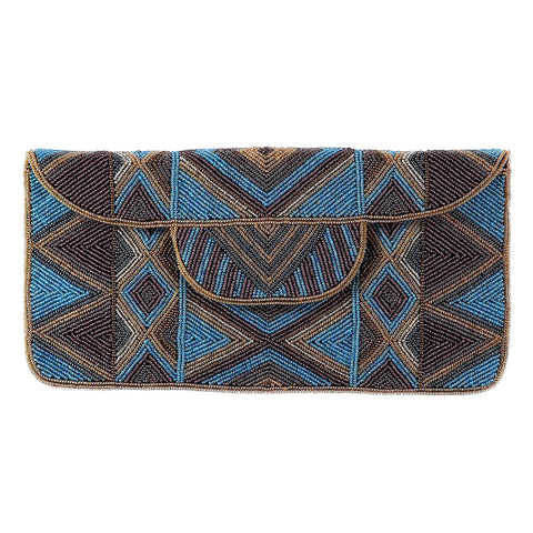 Mzuri Clutch Bag - Blue Metallic