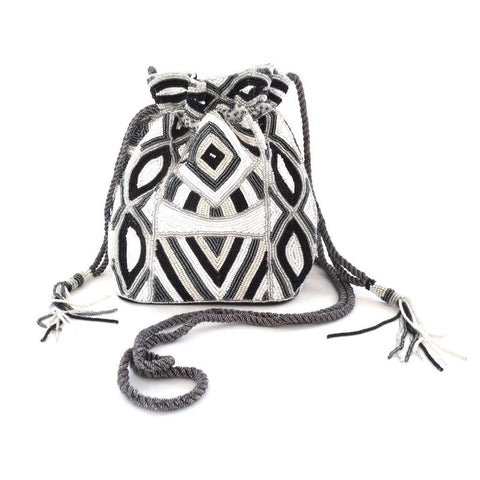 Beaded White Black Pouch Bag, Clutches, Bankelok