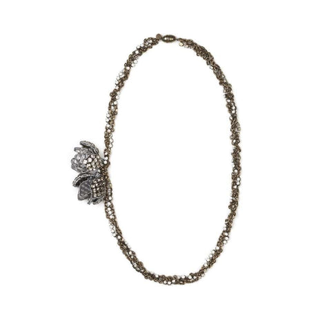 Crystal Garden Flowers Side Necklace - Bankelok - 1
