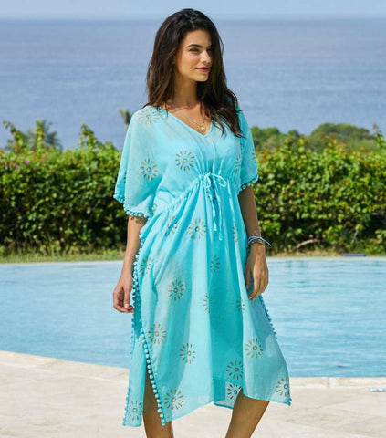 Pom Pom Turquoise Kaftan Dress