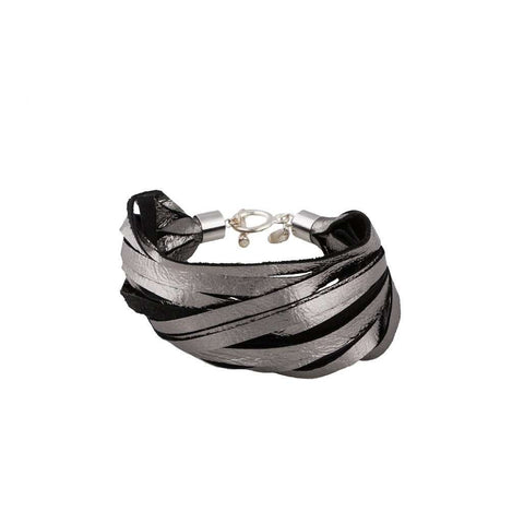 Strip Silver Leather Bracelet, Bracelets, Bankelok