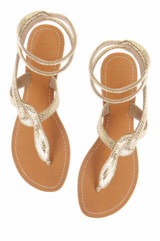 Snake Gold Leather Sandals