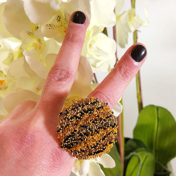 MZ Leopard Crystals Sun Ring