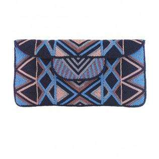 Mzuri Clutch Bag - Blue & Salmon - Bankelok - 1