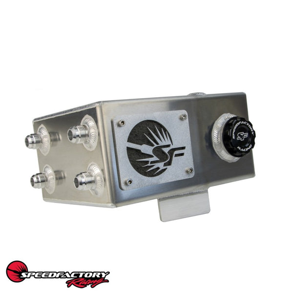 SpeedFactory Racing Right Hand Drive Angled Oil Catch Can with built in Coolant Overflow Tank