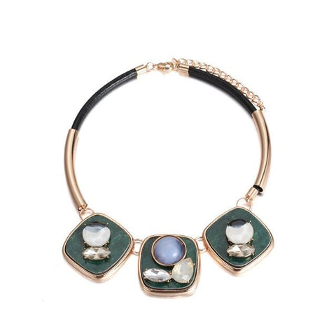 Layered Gems Collar Necklace