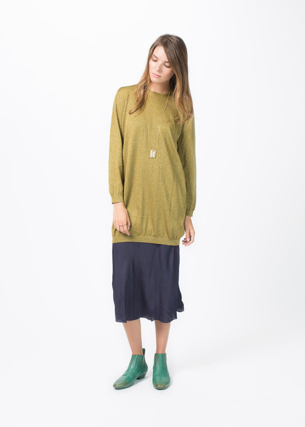 Knit Lurex Long Sleeve Pullover