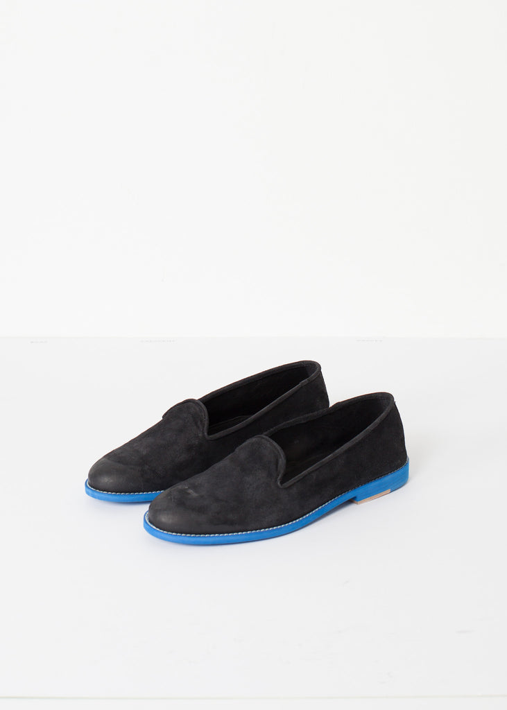 Suede Loafers in Black/Blue