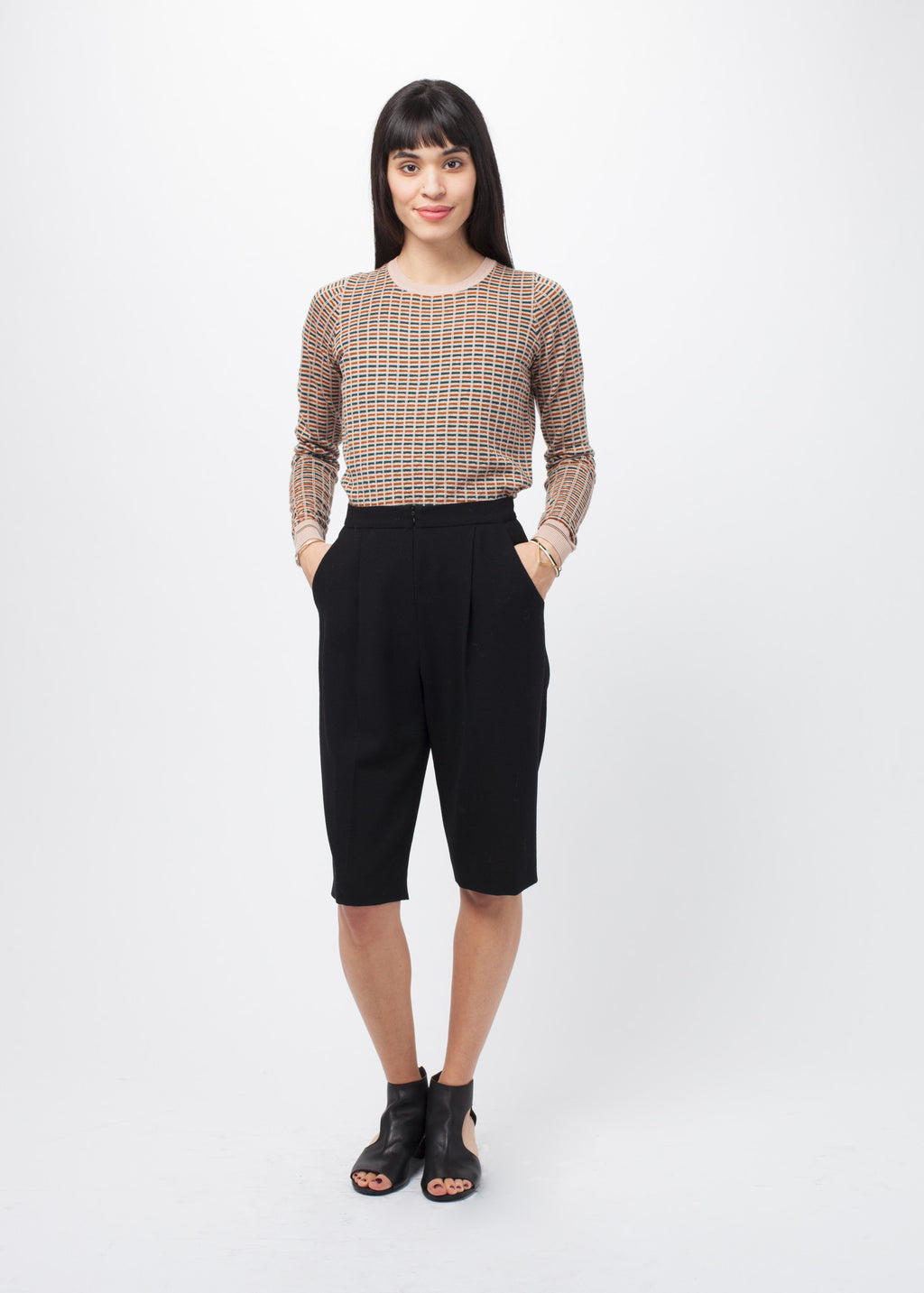 Wool Crepe Bermuda Short