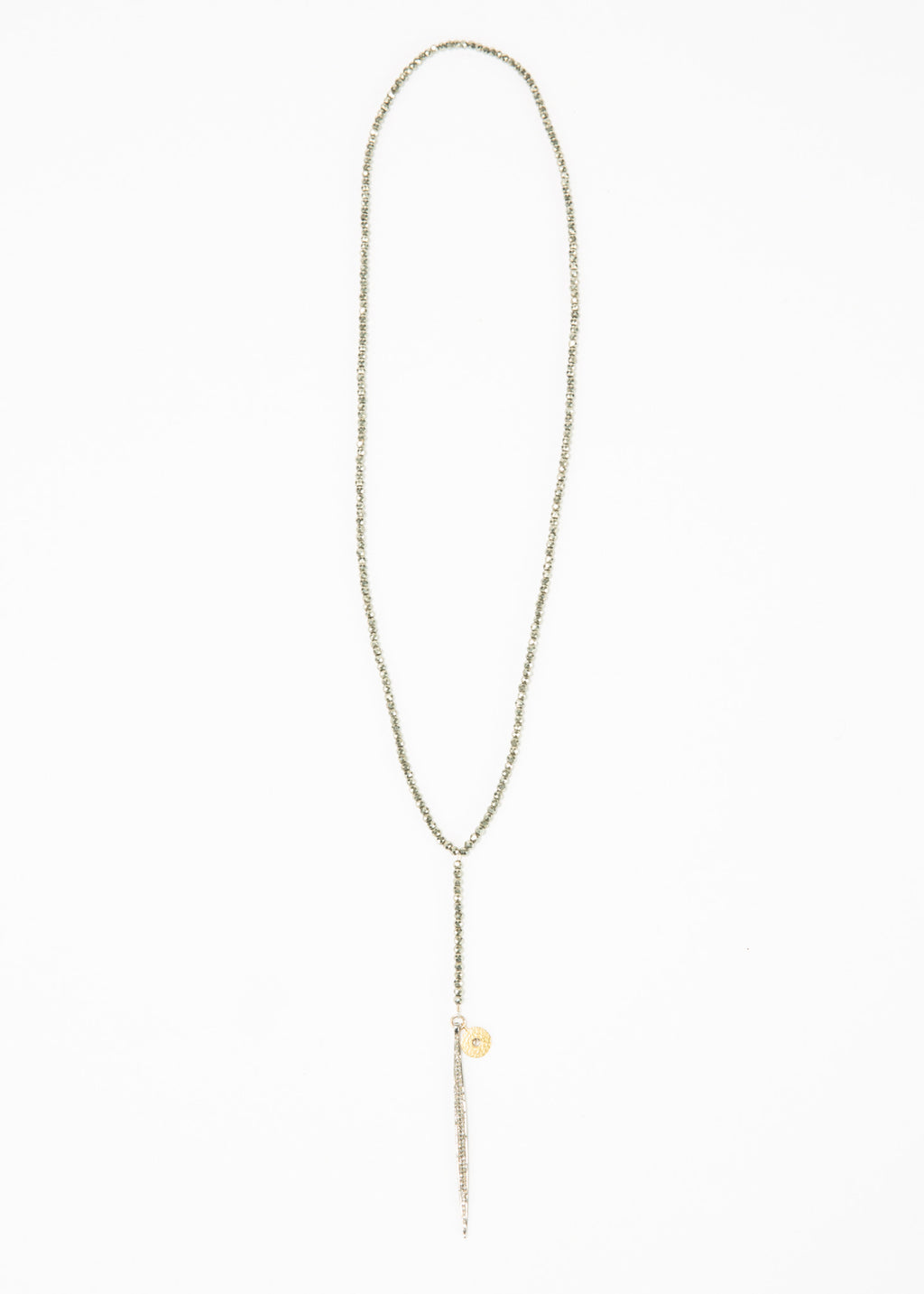 Pyrite Necklace with Diamond Spike
