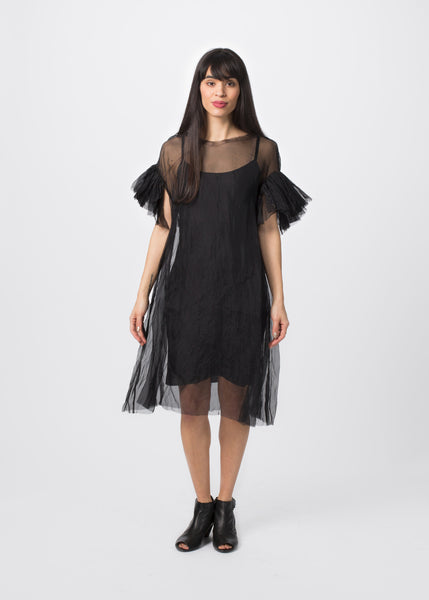 Ruffle Sleeve Dress with Slip