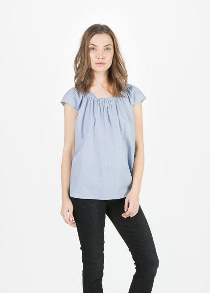 Narrow Stripe Sleeveless Off Shoulder Top