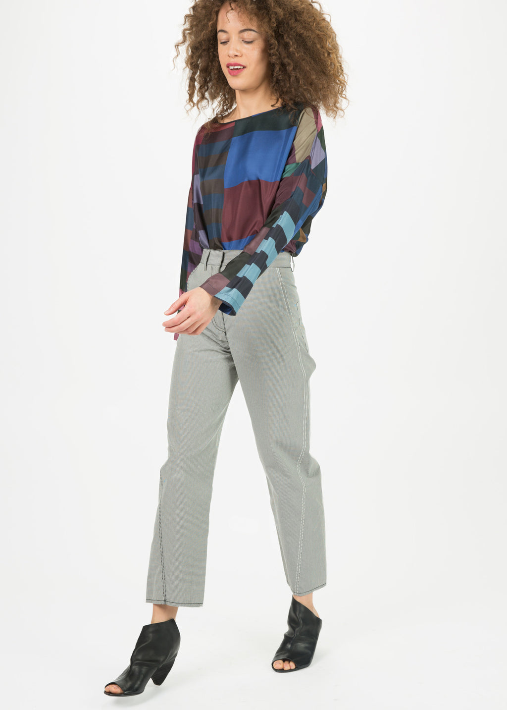 Micro Check High-Waisted Pants