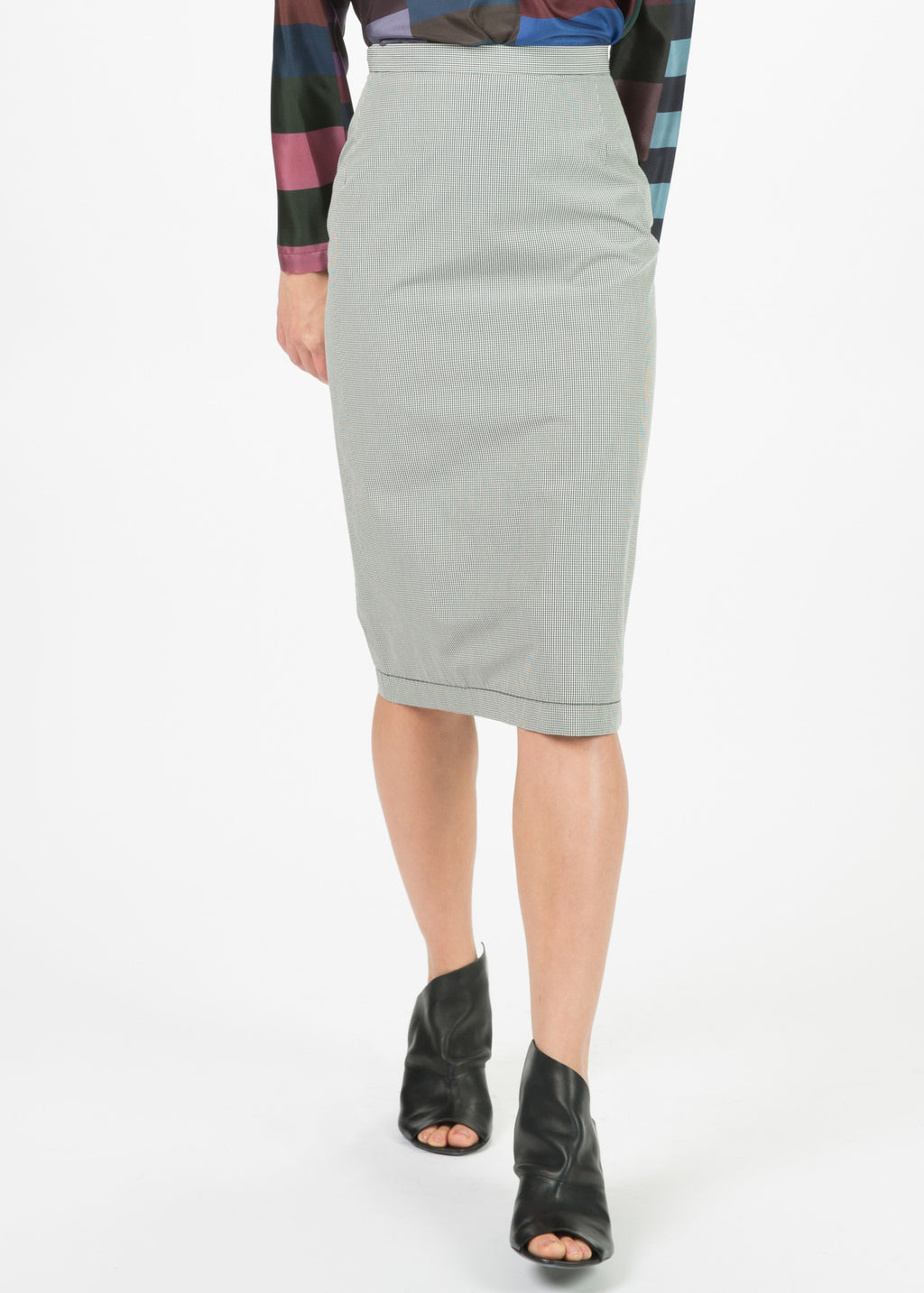 Micro Check Pencil Skirt