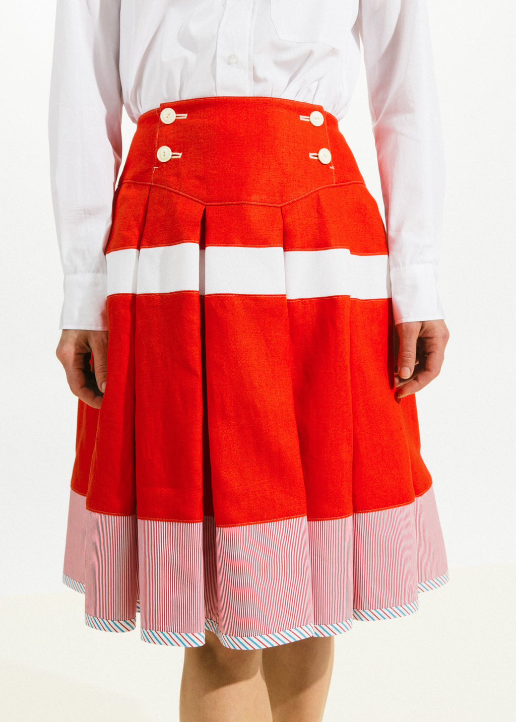 Broad Stripe Pleat Skirt