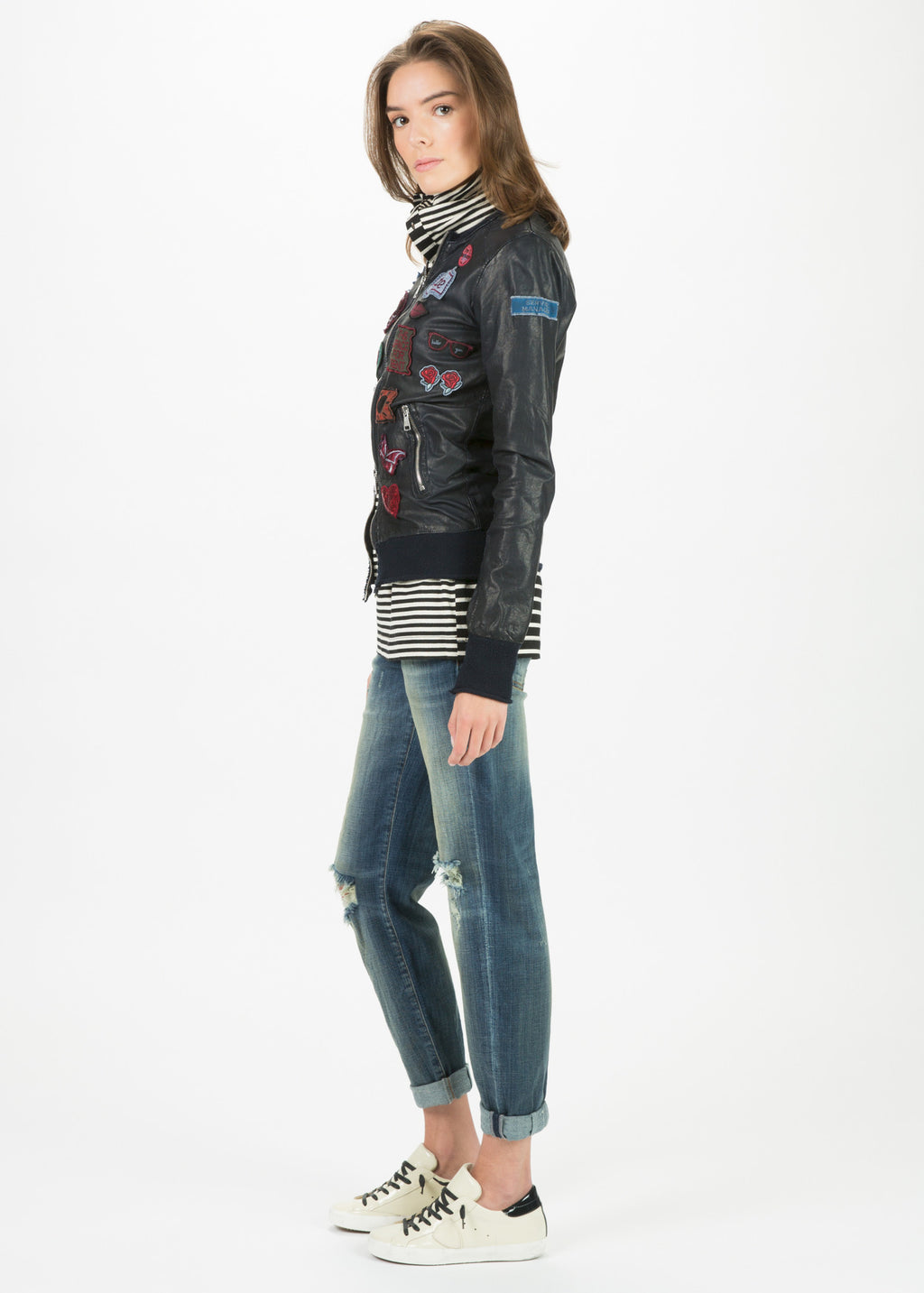 Knit Hem Leather Jacket with Patches