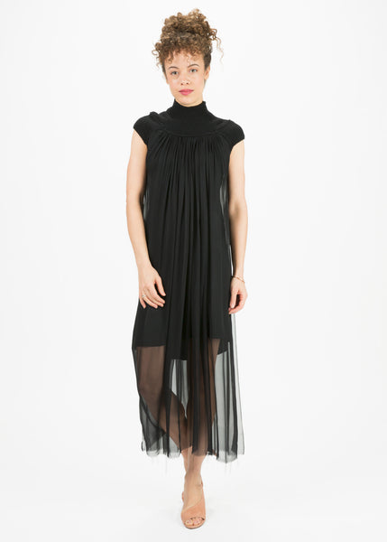 Cashmere and Chiffon Cap Sleeve Dress