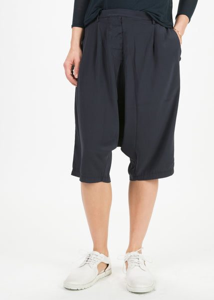 Silk Drop-Crotch Bermuda Shorts