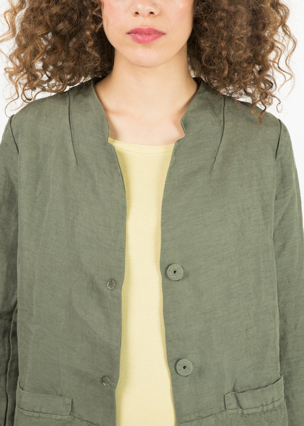 Tencel Blend Collarless Jacket