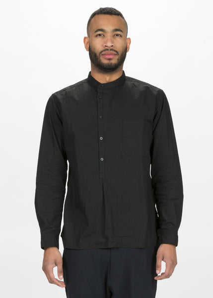Collarless Half Button Shirt