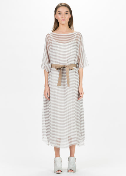 Sheer Stripe Dress with Slip