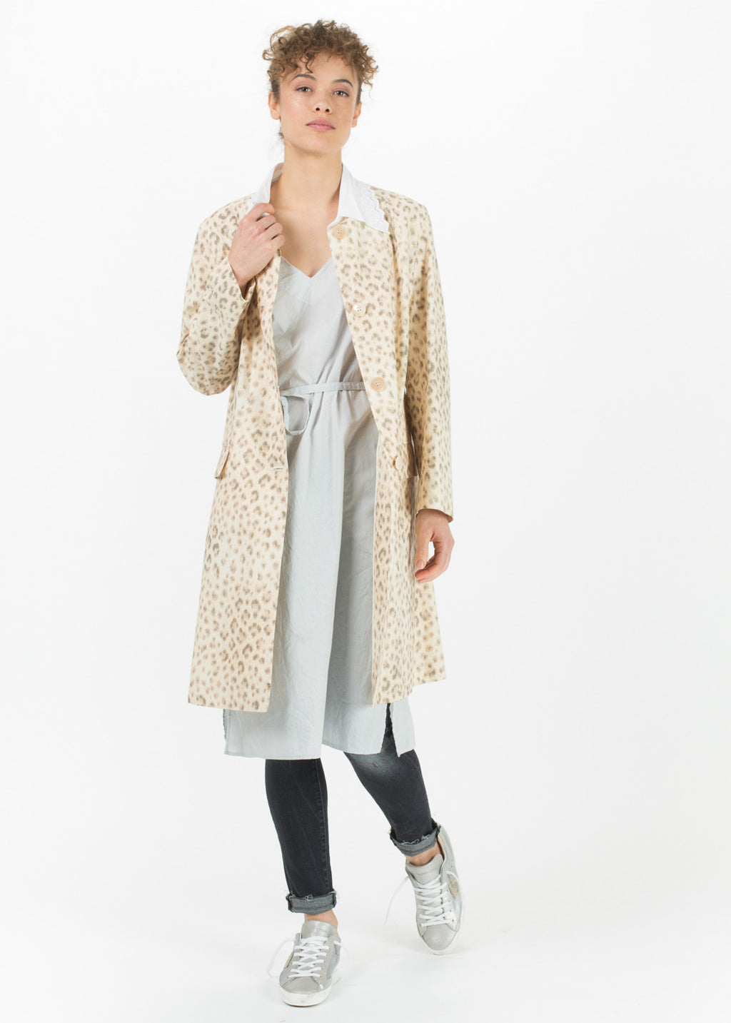 Faded Leopard Print Coat