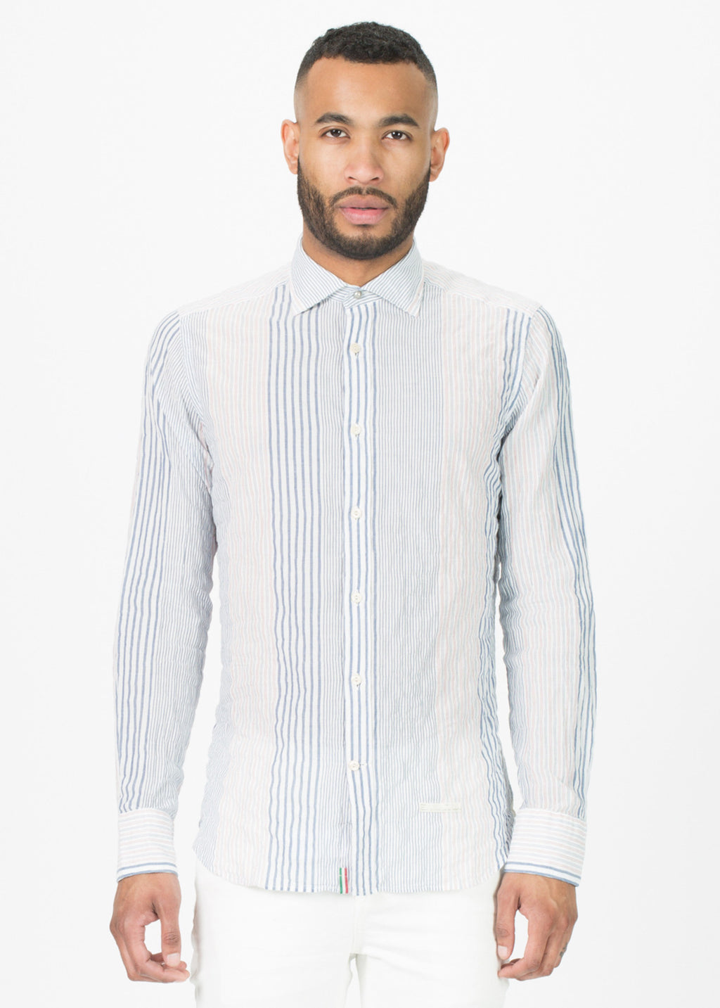 Mixed Stripe Pattern Button-Up Shirt