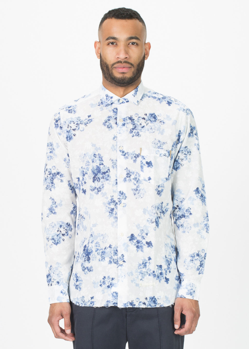 Raw Hem Floral Button-Up Shirt