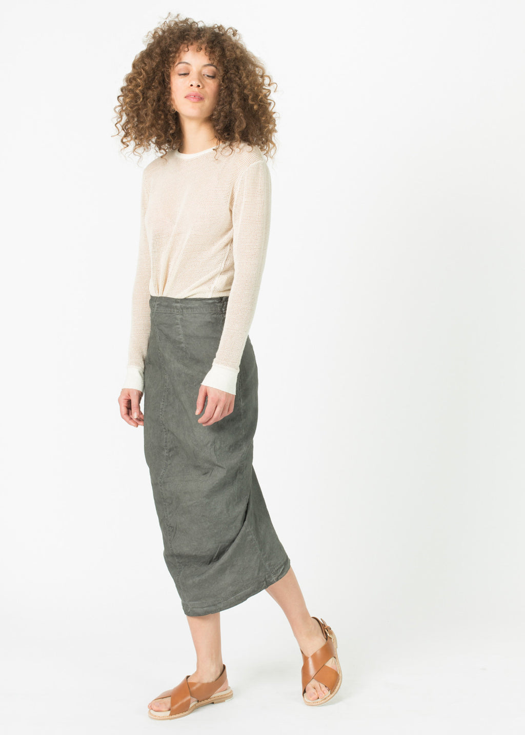 Stretch Linen Funnel Skirt
