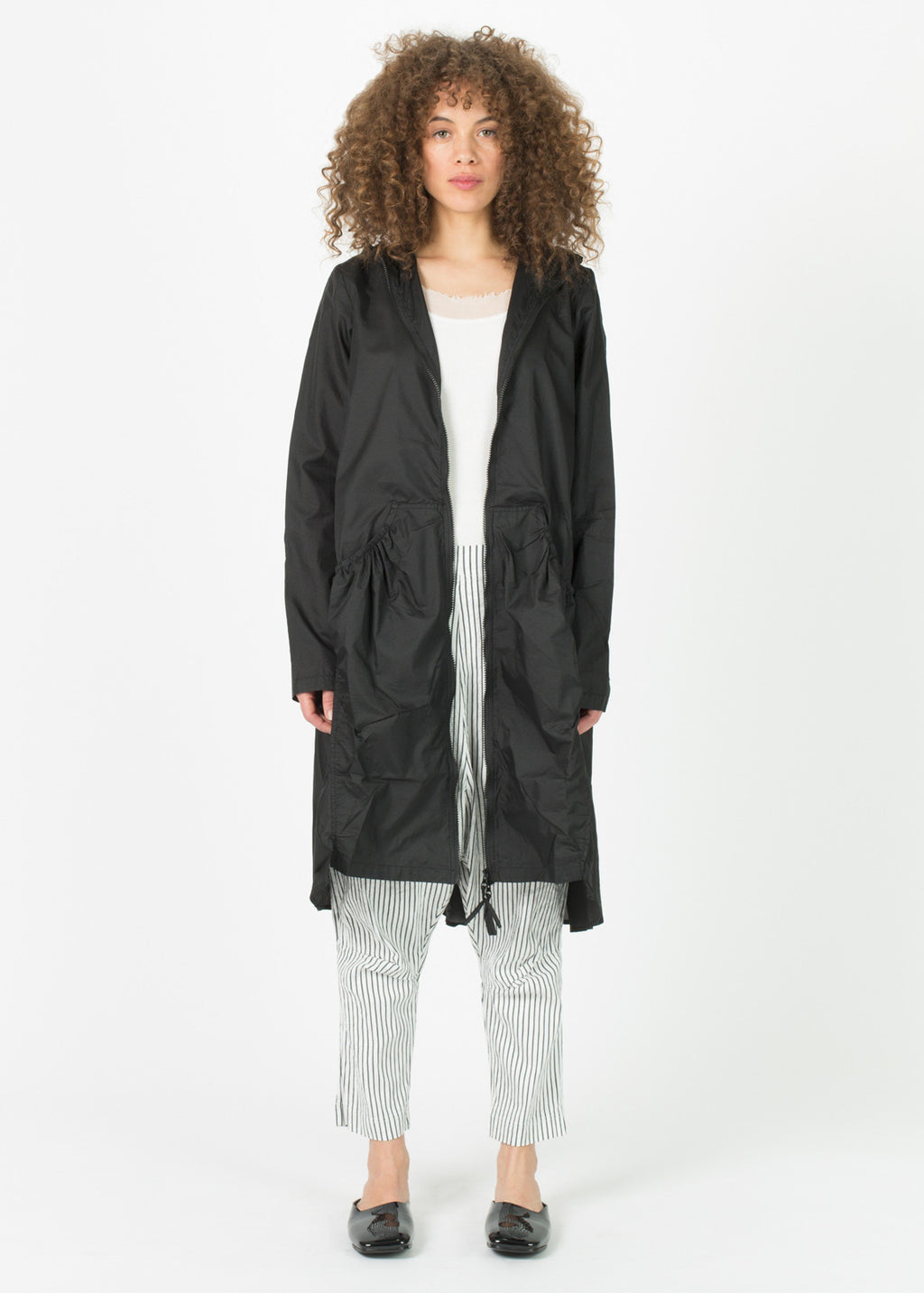 Long Lightweight Hooded Zip Coat