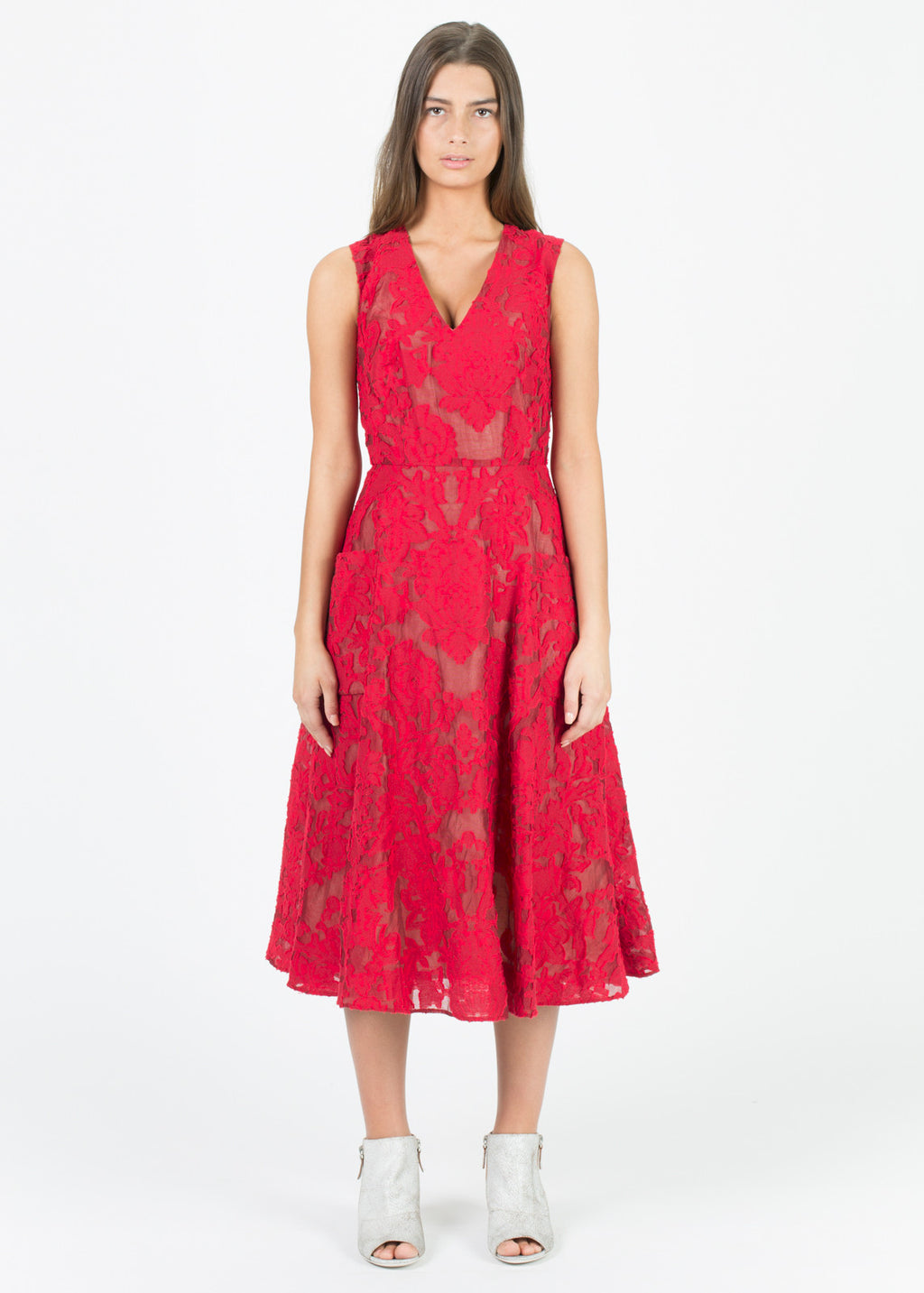 Sleeveless Brocade Dress