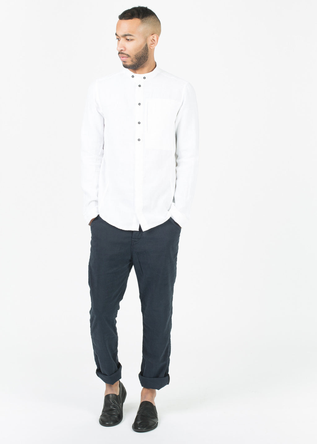 Mandarin Collar Button-Up Shirt