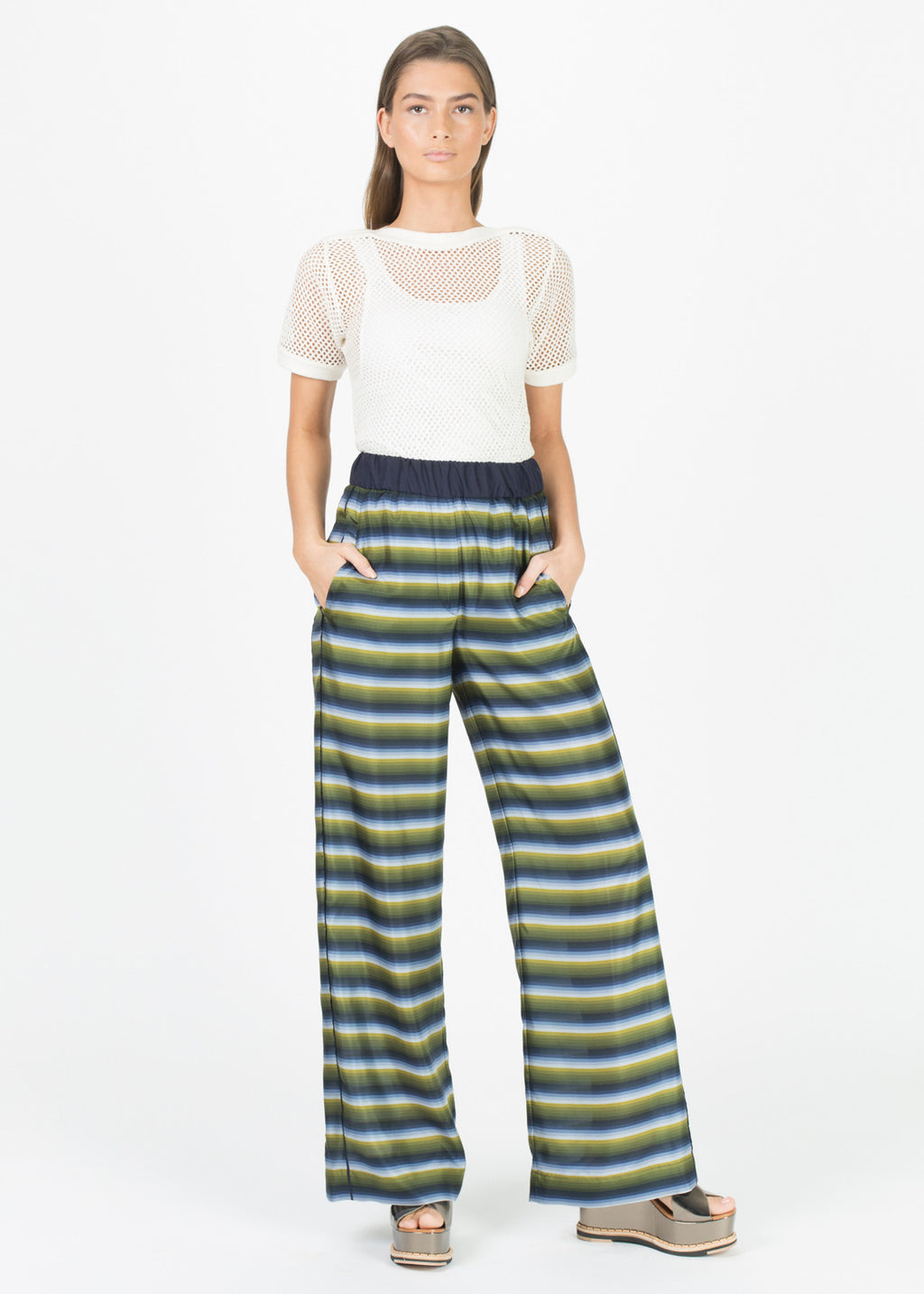 Wide Leg Striped Silk Pant