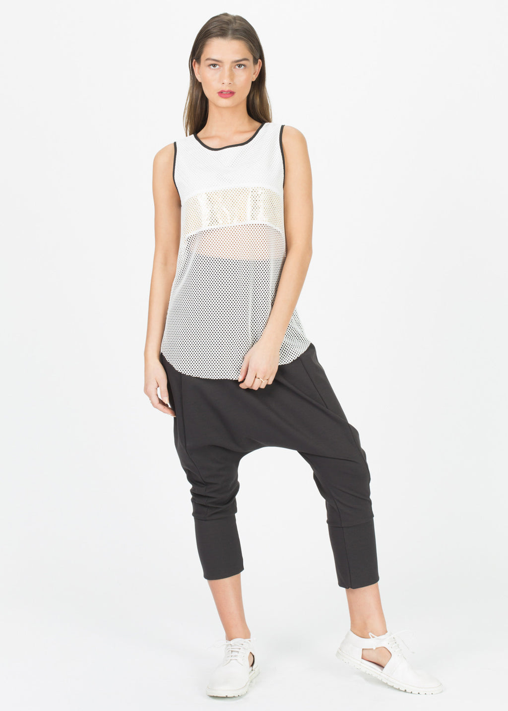 Metallic Stripe Mesh Tank Top