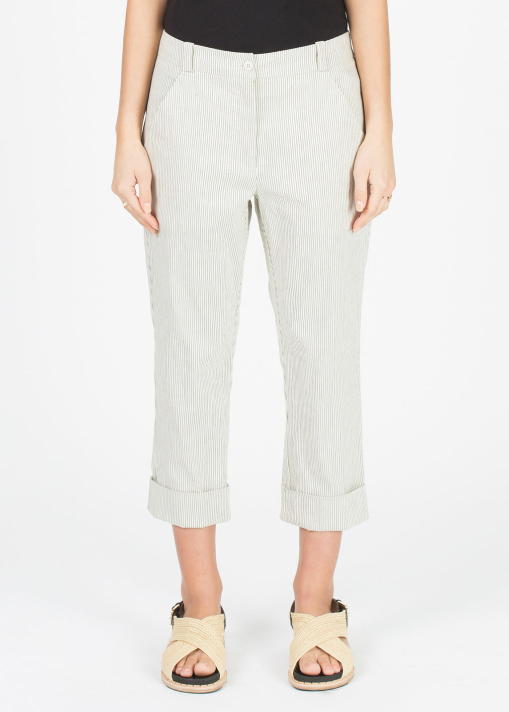 Striped Fee Crop Trouser