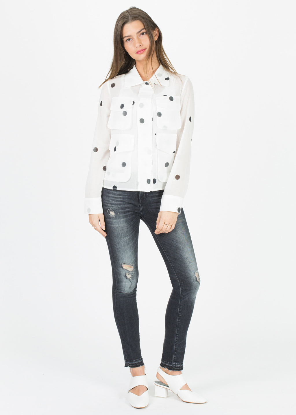 Sheer Four Pocket Shirt Jacket
