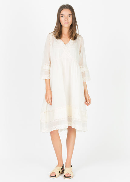 Sheer Lace-Trim Dress with Slip