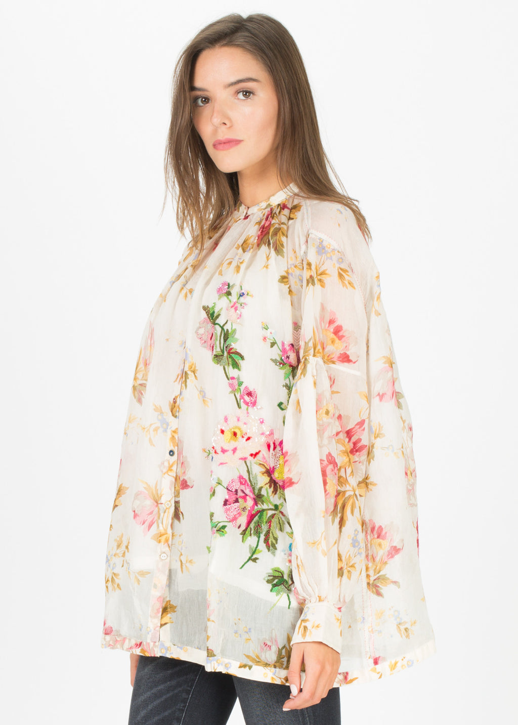 Beaded Button-Up Floral Blouse