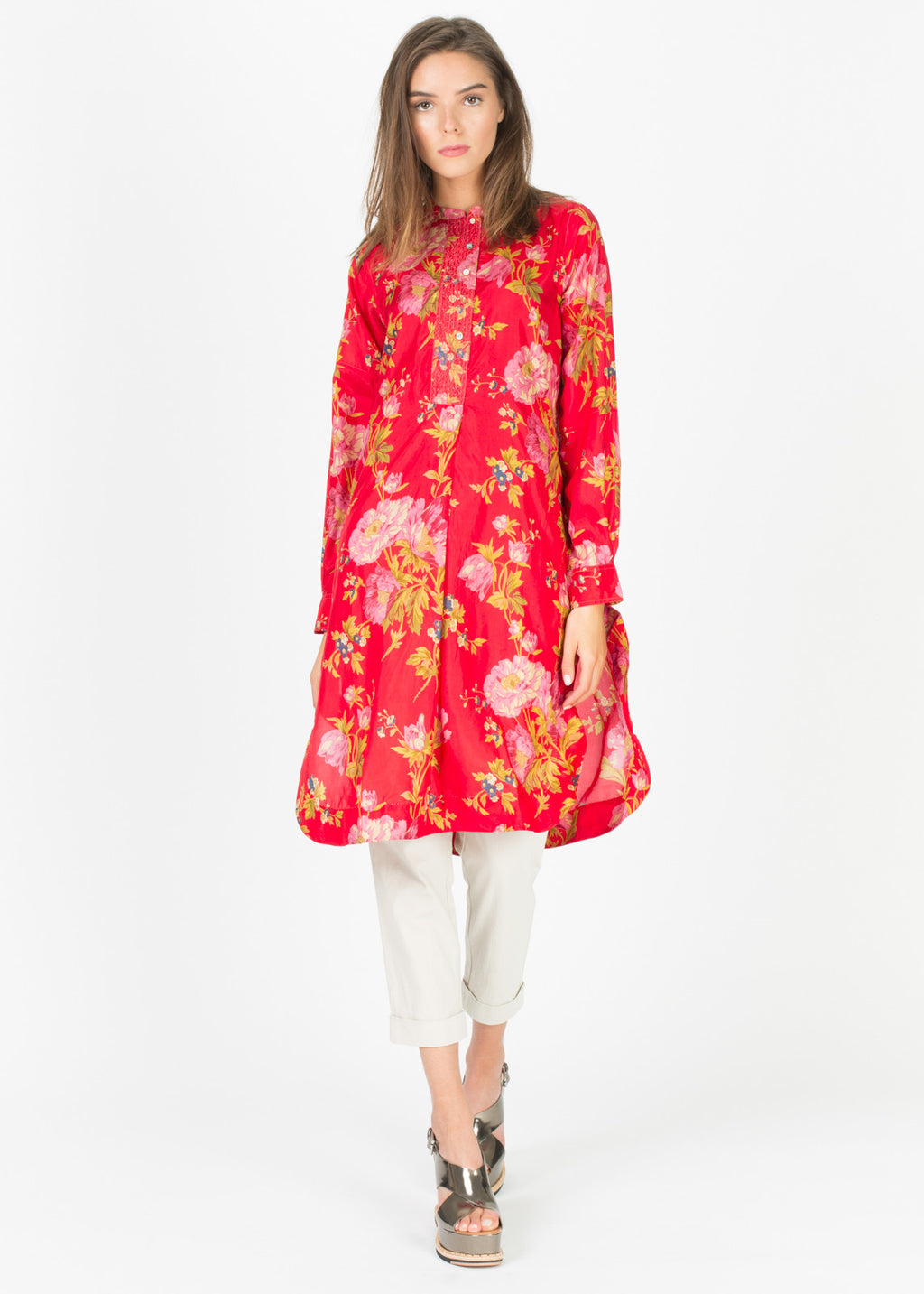 Half-Button Silk Shirtdress