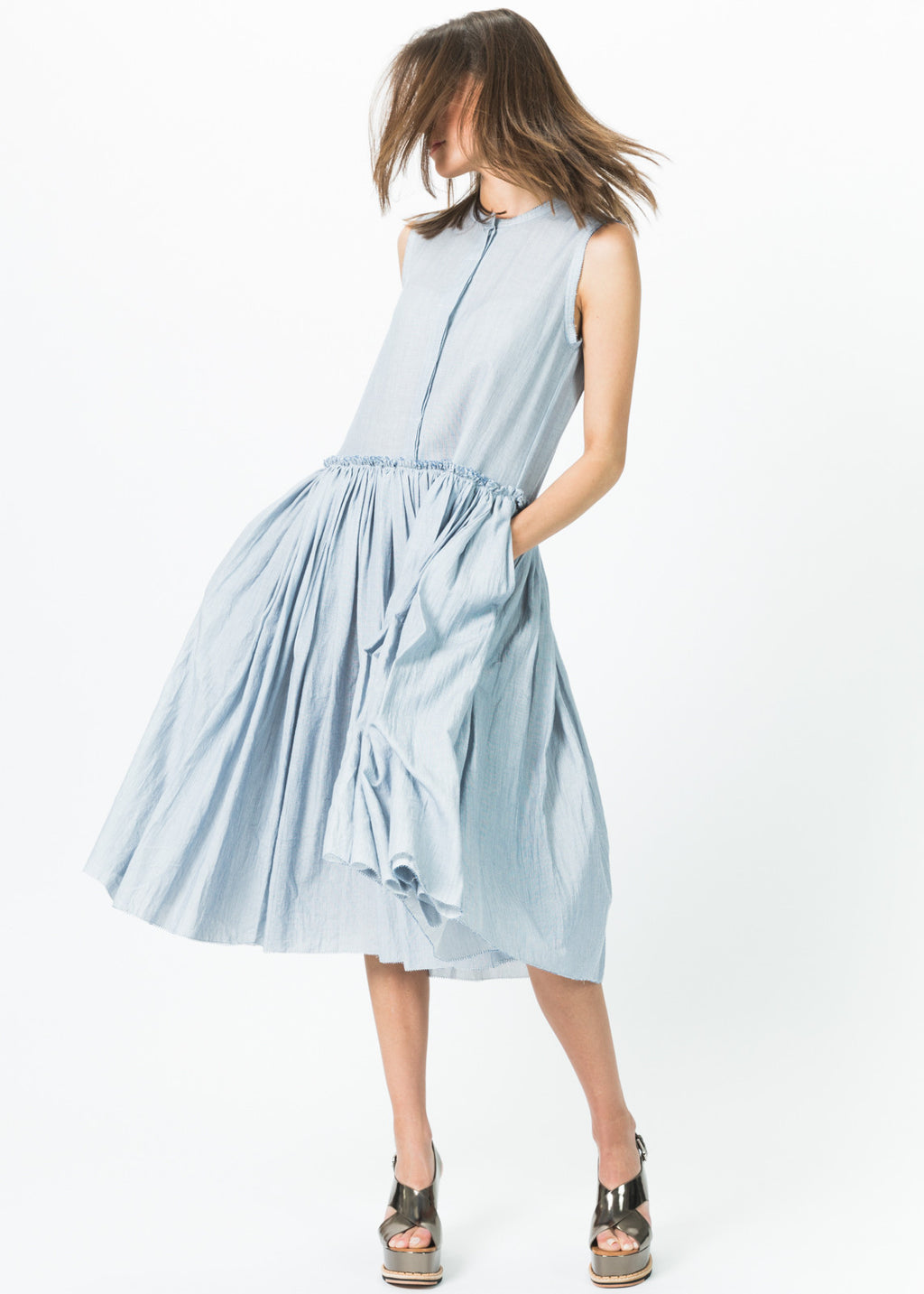 Sleeveless Button-Up Gathered Dress