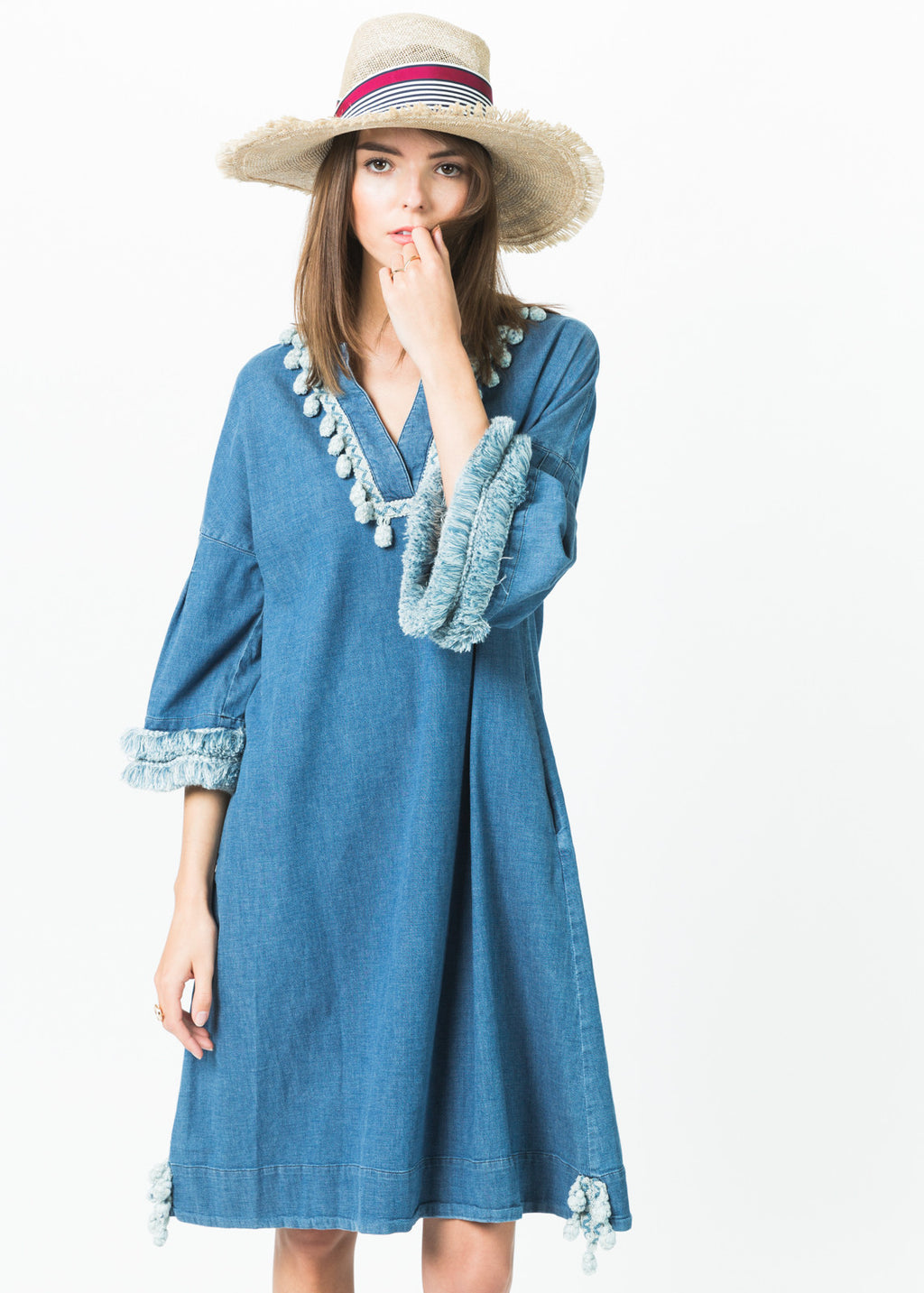 Tassel Trim Chambray Dress