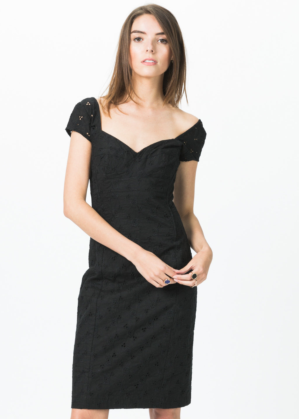 Fitted Cap Sleeve Dress