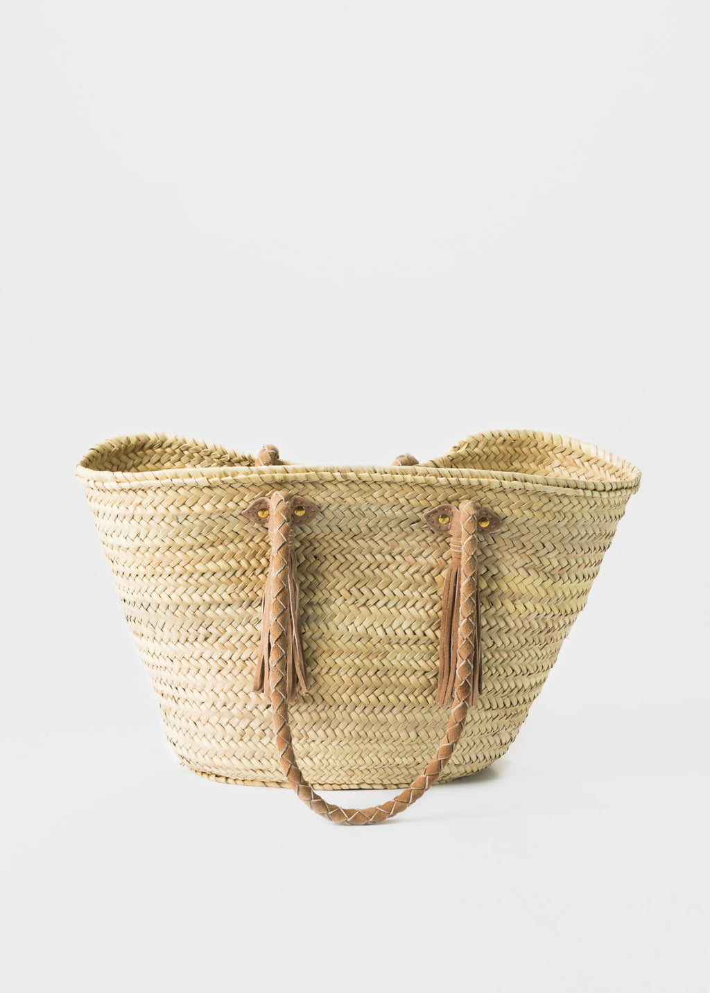 Angela Leather-Tassel Woven Tote