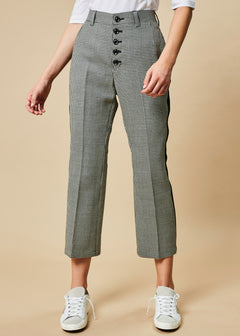 Houndstooth Cropped Flare Trouser