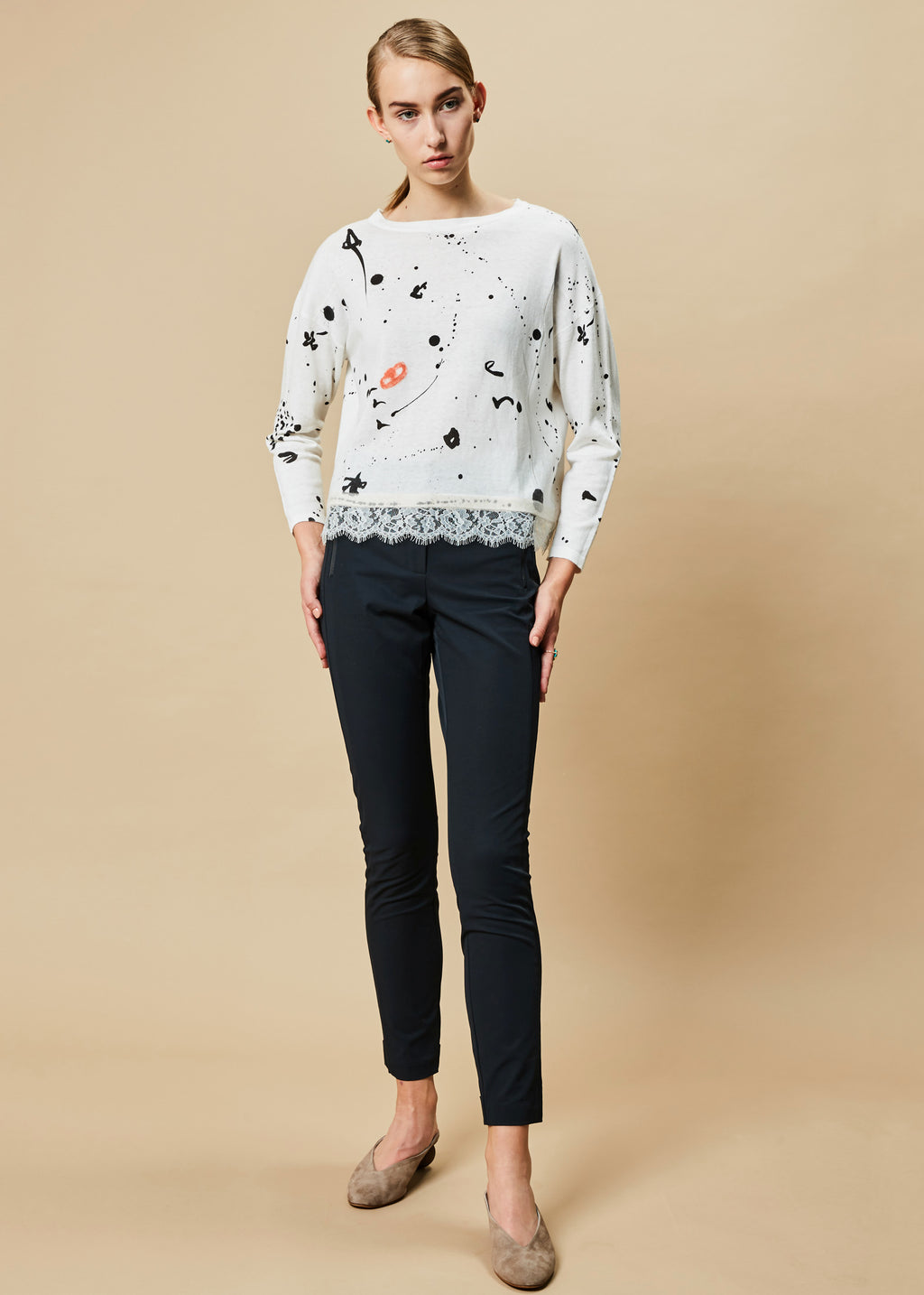 Ivory and Drip Lace-Hem Sweater