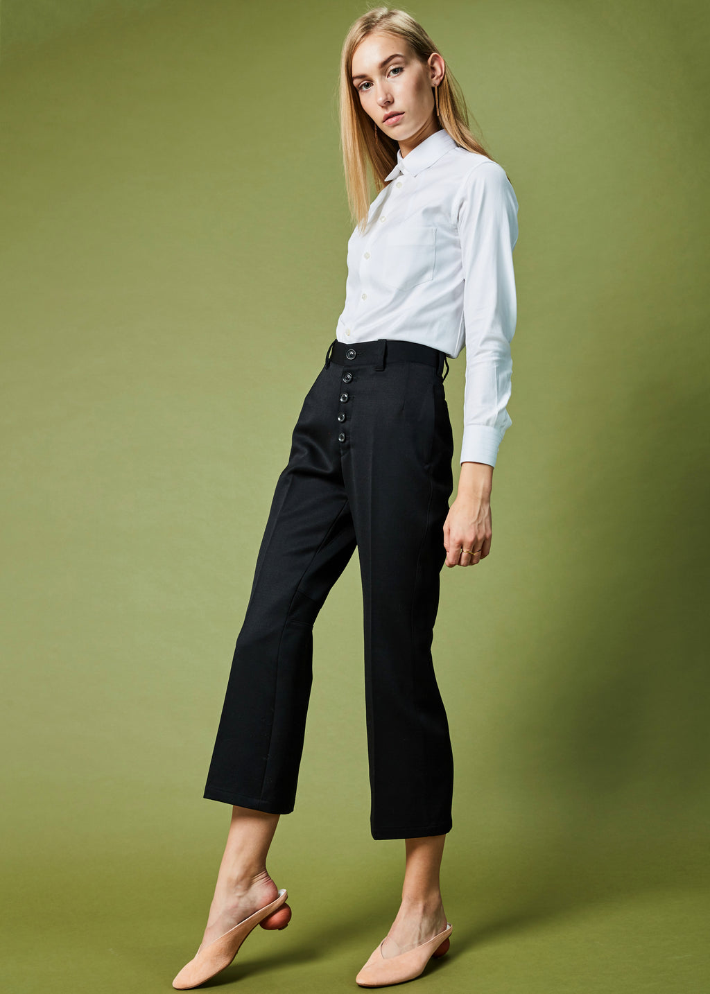 Cropped Flare Wool Trouser